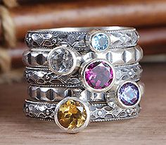 Beautiful birthstone rings I treated myself to one similar to the top one for my 40th bday! LOVE it!!! and now I can add more to it!!!