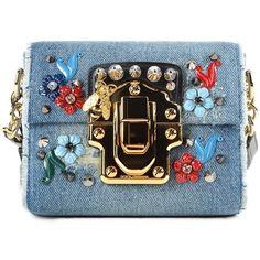 Denim Mini Shoulder Bag ($1,333) ❤ liked on Polyvore featuring bags, handbags, shoulder bags, blue, womenbags, miniature purse, blue shoulder bag, blue handbags, denim shoulder bag and shoulder handbags
