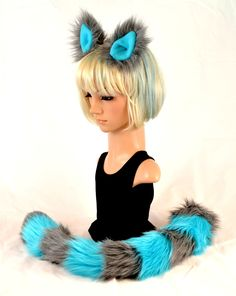 Cat Ear Tail Clip On Faux Fur Set in Gray and Blue