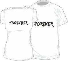 Lot de 2 T-shirts pour amoureux : TOGETHER FOREVER - SiMedio