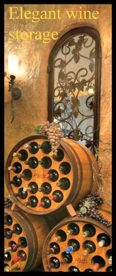 "Wine Rack Barrel by TheBarrelRack on Etsy (now I'm thinking about turning the ""L"" shape walk-in closet under the stairs into a wine cellar using these barrels)!"