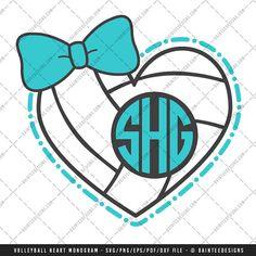 Volleyball Heart Monogram  SVG Vector DXF by DainteeDesignsSVGs