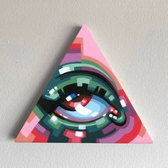Illuminaughty Series, Me, Acrylic on Wood, 2019 : Art Hippie Painting, Diy Painting, Triangle Art, Art Watercolor, Mini Canvas Art, Hippie Art, Arte Pop, Crayon, Doodle Art