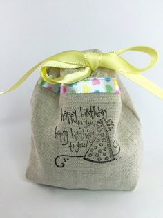 Party Favor Bag - Stamped Happy Birthday to you - Heart Ribbon Detail- Reusable Drawstring - Linen Look gifts, treats, jewelery and more by SpanishVelvet on Etsy