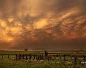 Afterglow, Warm Light Print, Oklahoma Photography, Southern Photography, Gates, Fences, Pastures, Weather Art, Weather Clouds, Nature Sky