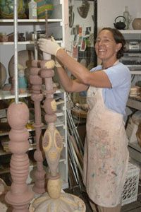 Barbara Vanderbeck . . . working on her potter's pole