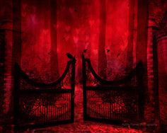 """Nature Photography, Fantasy Nature Red Landscape, Surreal Red Gothic Gates, Raven Crow Red Fantasy Woodland 8"""" x 10""""."""