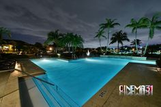 Night View of pool at Palms of Doral