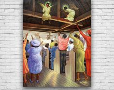 Angels In The Rafters, Church Congregation, Worship Service, African American Art Print Poster by Artist Sarah Jenkins #fineart #fineartprints #artprints #art #artposters #fineartposters #vintageart #vintageartprints #vintageartposters #vintageprints #vintageposters #blackart #africanamericanart
