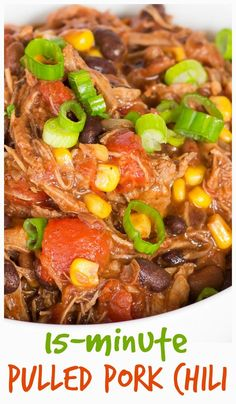 This pulled pork chili made with leftover pork roast is ready in about 15 minute. This pulled pork chili made with leftover pork roast is ready in about 15 minutes! Leftover Pork Loin Recipes, Shredded Pork Recipes, Healthy Pork Recipes, Pork Roast Recipes, Pulled Pork Recipes, Pork Tenderloin Recipes, Leftovers Recipes, Recipes With Pulled Pork Leftovers, Leftover Pulled Pork