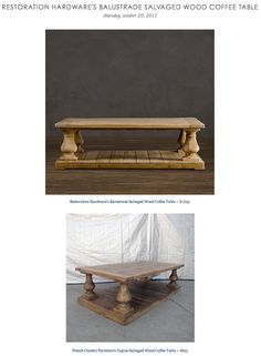 RESTORATION HARDWARE'S BALUSTRADE SALVAGED WOOD COFFEE TABLE vs FRENCH COUNTRY FURNITURE'S TAGINE SALVAGED WOOD COFFEE TABLE
