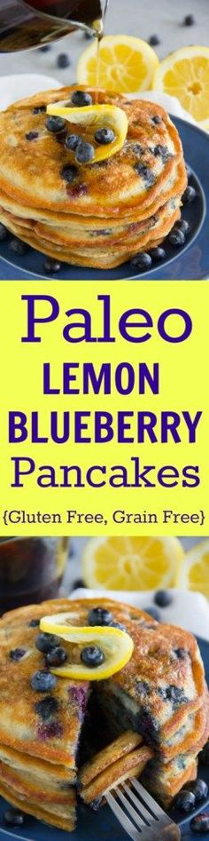Paleo - These tasty Paleo Lemon Blueberry Pancakes are gluten free, grain free, dairy free and sure to please even the finickiest eater! - It's The Best Selling Book For Getting Started With Paleo Gluten Free Breakfasts, Gluten Free Recipes, Healthy Recipes, Delicious Recipes, Paleo Food, Paleo Dessert, Paleo Cookbook, Paleo Bread, Dinner Dessert