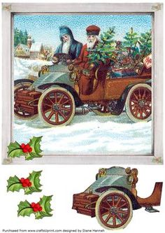 Santa Going for a Ride quick card with decoupage elements.