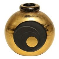 Gilded & Etched Glass Vase von Jean Luce