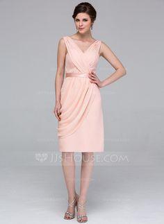 Sheath/Column V-neck Knee-Length Chiffon Bridesmaid Dress With Ruffle (007037174)