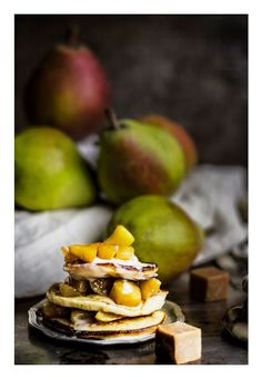 Ricotta pancakes with caramel pears
