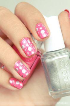 Pink Polka-dot Nail Art