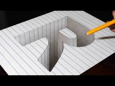 Drawing a R Hole in Line Paper - Trick Art Optical Illusion - Drawing a R Hole in Line Paper – Trick Art Optical Illusion - 3d Art Drawing, Drawing Letters, 3d Letters, Drawing Step, Drawing Ideas, Sketchbook Drawings, Pencil Art Drawings, Easy Drawings, Sketching