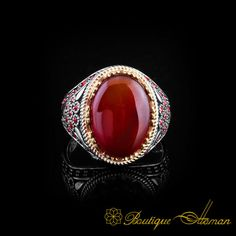 Royal Collection Red Aqeeq Silver Ring by Boutique Ottoman Exclusive Jewelry Shop. Check our classic and notable 925 sterling silver jewelry. Jewelry Shop, Jewelry Stores, Sterling Silver Jewelry, Silver Rings, Ring Crafts, Turkish Jewelry, Agate Stone, Stone Rings, Class Ring