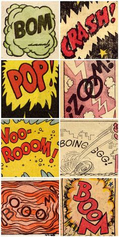 "Retro style onomatopoeia in pop-art form, use of this theme is abundant in old comic books. Although childish, the ""sound-words' create a playful image and a way to visualise the sound in an otherwise silent environment."