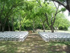 When planning your wedding, remember trees are awesome, natural decorations.  They add lots of color and character and they don't cost you any additional money. The trees in this photo frame the ceremony area perfectly.  Our clients love having their weddings among our beautiful trees. http://1899farmhouse.com/