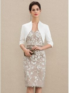 JJsHouse Sheath/Column V-neck Knee-Length Beading Sequins Zipper Up Sleeves Short Sleeves Yes Taupe General Plus Lace Mother of the Bride Dress. Mob Dresses, Event Dresses, Bride Dresses, Office Dresses, Tulle Wedding, Wedding Party Dresses, Vestidos Mob, Swatch, Plus Size Party Dresses