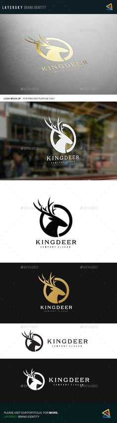 King Deer by LayerSky This logo design for all creative business. Consulting, Excellent logo,simple and unique concept. Logo Template FeaturesAI and EPS