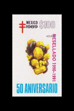 Sello: Minerales. Pais: México. Año: 1989 - 50 aniversario. Valor 100 pesos mexicanos (1 peso mexicano = 0,0452 €). Descripción: AZUFRE.