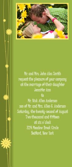 Spring themed photo wedding invitation with customizable flower colors. #daisies