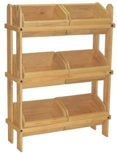 Tiered Wooden Display, Floor Standing, 6 Removable Bins – Oak