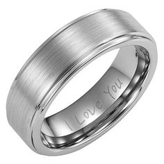 Brand New Mens Tungsten Ring Engraved I love You In Black Velvet Gift Box Size 10 - - Brand New Mens Band Ring crafted in Tungsten Mens Rings, Titanium Rings, Tungsten Carbide, Mens Band Rings, Rings For Men, Coupons For Boyfriend, Men's Jewelry Rings, Jewellery, Friendship Rings