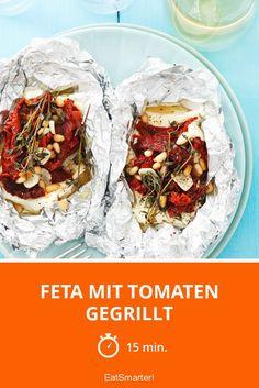 Feta mit Tomaten gegrillt - smarter - Zeit: 15 Min.   eatsmarter.de Snacks, Eat Smarter, Feta, Camembert Cheese, Healthy Recipes, Healthy Food, Beverages, Dairy, Low Carb