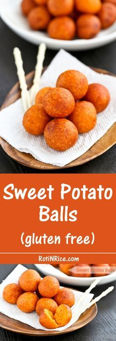 Only a few simple ingredients used in these gluten free Sweet Potato Balls deep fried to golden perfection. They make a tasty tea time or snack time treat. | Food to gladden the heart at http://RotiNRice.com
