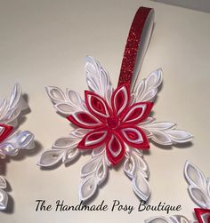 Handmade Kanzashi Christmas Snowflake by HandmadePosyBoutique