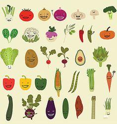 Happy Vegetables Illustration Print by NeatoNectarine on Etsy Vegetable Illustration, Vegetable Prints, Kitchen Wall Art, Fruit And Veg, Food Illustrations, Healthy Kids, Food Art, Etsy, Kawaii