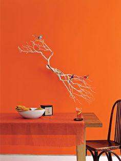 A solid orange painted wall brightens up this kitchen! Orange Rooms, Living Room Orange, Orange Walls, Happy Colors, Warm Colors, Gerbera, Orange Wall Art, Orange Interior, Orange House