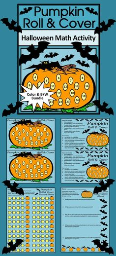 Pumpkin Roll & Cover Halloween Math Activity: This Halloween pumpkin math activity gives your students a fun and festive way to practice addition in series in a hands-on way.  Use 4 six-sided dice and pumpkin seeds or other small items as counters.  Contents Include: * Two Student Work Mats * Two Instruction Sets * One Student Record Sheet * One Student Observation Sheet  #Pumpkin #Halloween #Math #Activity