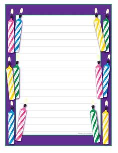 candy border templates including printable border paper and  birthday writing paper fun paper is a great incentive for student writing