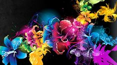 Image of abstract flowers wallpaper. Widescreen Wallpaper, 3d Wallpaper, Flower Wallpaper, Wallpaper Backgrounds, Wallpaper Awesome, Neon Backgrounds, Wallpaper Designs, Apple Wallpaper, Computer Wallpaper