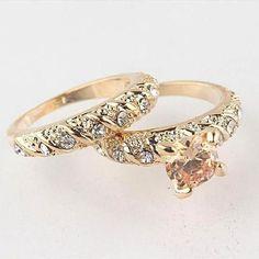 Fashion 2Pcs/Set  Gold Filled Round Cut Wedding Engagement Solid Ring Set