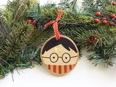 Harry Potter Ornament, Harry Potter Christmas, Wood Slice Ornament, Christmas Decor, Hand Painted Ornament, Christmas Ornament by AmandaKammarada on Etsy https://www.etsy.com/listing/202752480/harry-potter-ornament-harry-potter