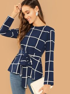 Shop Self Belted Grid Top online. SHEIN offers Self Belted Grid Top & more to fit your fashionable needs. Blouse Peplum, Shirt Bluse, Fall Shirts, Mode Hijab, Spandex, Types Of Sleeves, Female Models, Fashion News, Pullover