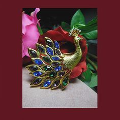Vintage large Jewels of India peacock. Signed TRIFARI - Vintage Items for Sale - The Vintage Village