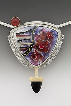 Enameled Red and Black Triangle Abstract Pendant Necklace: by Anna Tai | from Artful Home  <3<3<3I JUST LOVE EVERYTHING ABOUT ANNA'S JEWELLERY! THE BEAUTIFUL & OFTEN VIBRANT  COLOURS/WHIMSICAL DESIGNS MIXED W' GEMS & PRECIOUS METALS (I'D <3 TO OWN A PIECE...sigh), SIMPLY STUNNING!<3<3<3