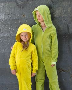 The new EZ Dry Onezie in yellow and green. The original children's towel onesie.