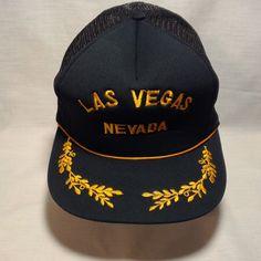 e2450410f07 Vintage Snapback Baseball Hat Cap LAS VEGAS Black Gold Mesh Hipster Trucker  Painter Baseball Hats