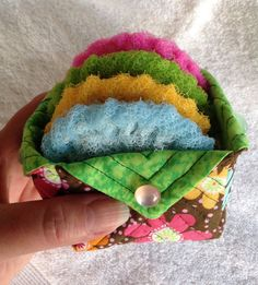 Nylon  Dish Scrubber/ Quilted Fabric Box Gift Set in Blue, Yellow, Green, Pink... Gift for Her  #ideas #etsy #team #treasury #handmade #etsyseller