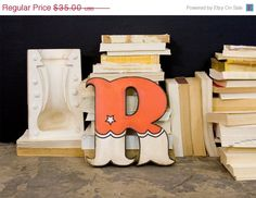 SALE Vintage Carnival Style Wood Letter R Red and White