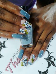Blue Acrylic Nails, Glitter Nails, Love Nails, My Nails, Beauty Nails, Pedicure, Hair And Nails, Nail Polish, Make Up