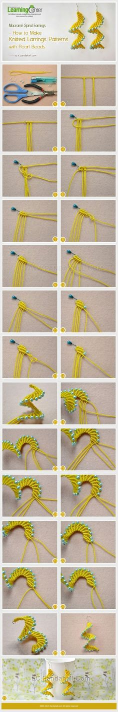 Macramé Spiral Earrings - How to Make Knitted Earrings Patterns with Pearl Beads by Jersica